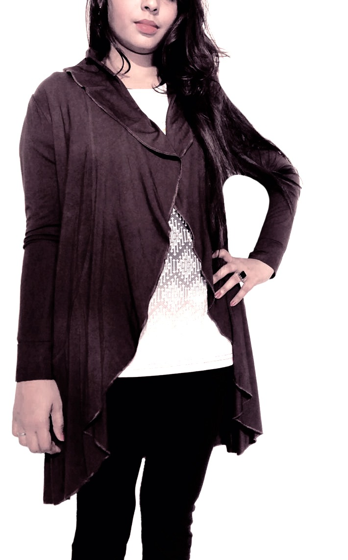 Brown open cardigan
